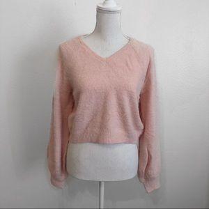 Pink eyelash knit sweater